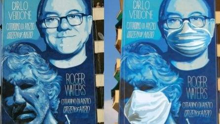 Anzio, il murale per Verdone e Waters adesso è con le mascherine
