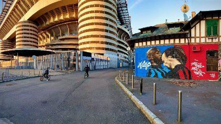 """Ibra e Lukaku in un murale a San Siro: """"Faccia a faccia, cuore a cuore"""""""