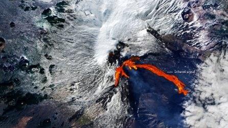 Foto dallo spazio: l'eruzione dell'Etna