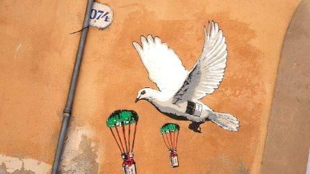 Roma, murale al ministero della Salute di una colomba pasquale che porta i vaccini