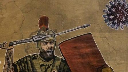 Il centurione combatte contro il coronavirus: il murales per De Rossi a Roma