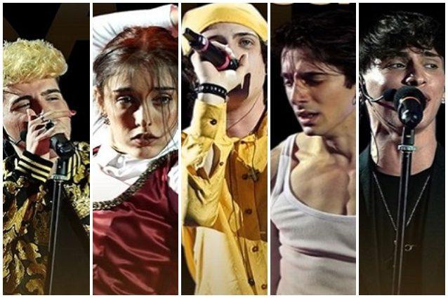 I finalisti: Aka7even, Giulia Stabile, Sangiovanni, Deddy e Alessandro Cavallo
