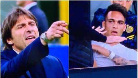 Il battibecco tra Conte e Lautaro Martinez durante Inter-Roma