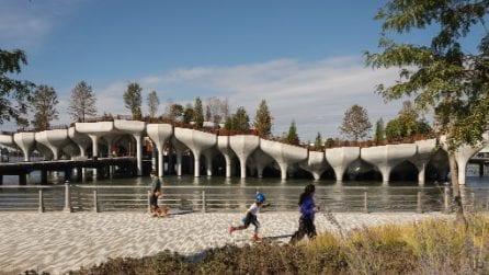 Apre Little Island a New York: assomiglia a una foglia che galleggia nell'acqua