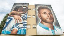 Murales di Ciro Immobile nel quartiere Ponte di Nona a Roma