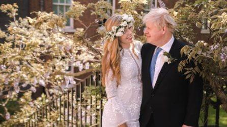 L'abito da sposa boho-chic di Carrie Symonds