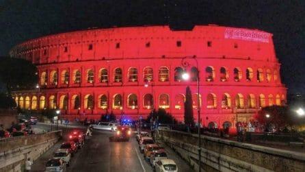 """Colosseo illuminato di rosso per la """"Giornata mondiale dei donatori di sangue 2021"""""""