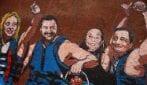 Roma, un dipinto di Harry Greb rappresenta i politici del centro destra vicino Montecitorio