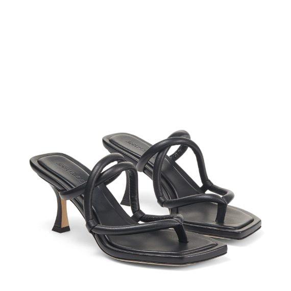 sandali infradito con il tacco e listini spessi intrecciati sul piede