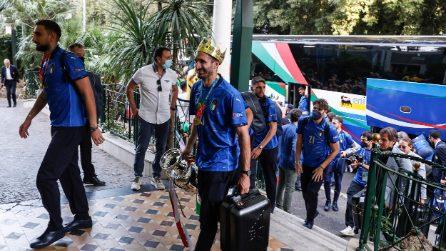 Italia campione d'Europa: l'arrivo degli azzurri all'hotel Parco dei Principi a Roma