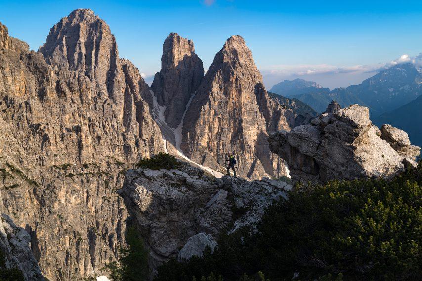 La triade del Bosconero al tramonto, un paesaggio tipicamente dolomitico, seppure quasi sconosciuto. Ph. Andrea Rizzato
