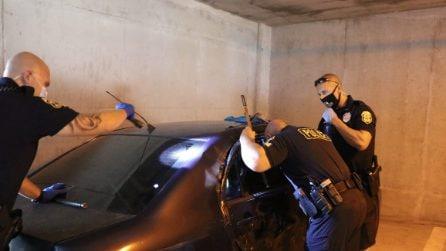 C'è un cane rinchiuso nell'auto: tre poliziotti intervengono per salvarlo