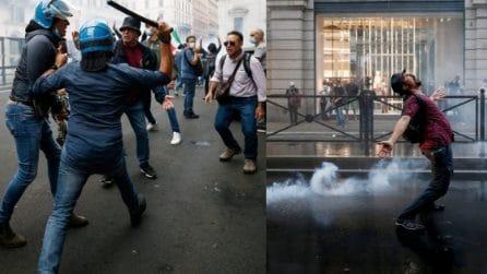 Roma, i violenti scontri tra manifestanti e polizia durante il corteo No Green pass