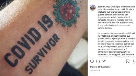 """""""Sopravvissuto al covid"""", il tatuaggio di chi ce l'ha fatta dopo essere stato in rianimazione"""