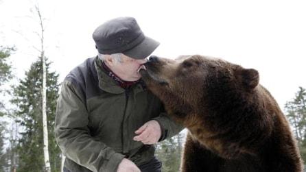 L'uomo che vive con una famiglia di orsi bruni in casa