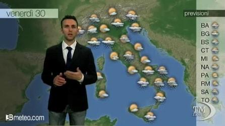 Previsioni meteo per venerdì, 30 maggio