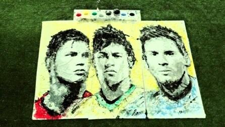 Dipingere con un pallone: i ritratti di Ronaldo, Neymar e Messi di Red Hong Yi