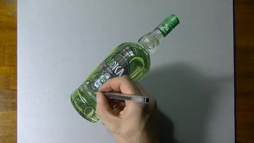 Ecco come disegnare una bottiglia di vodka in 3d for Disegnare una stanza in 3d