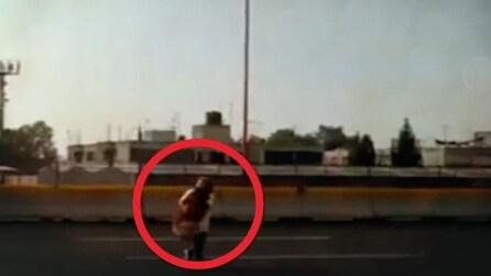Donna coraggiosa sfida il traffico in autostrada per salvare un cane ferito e impaurito