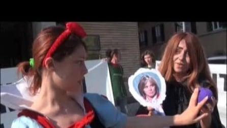 La Biancaneve di Greenpeace protesta contro gli Ogm al ministero