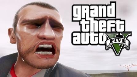 La reazione drammatica di Niko Bellic al video gameplay di GTA V