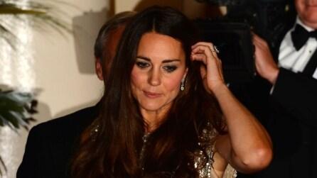 Kate Middleton dopo il parto con uno scintillante abito