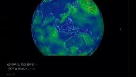 """L'incredibile mappa interattiva dei venti: """"Earth Wind Map"""""""