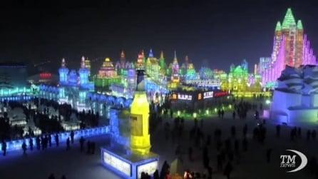 La città di ghiaccio e luci ad Harbin, in Cina
