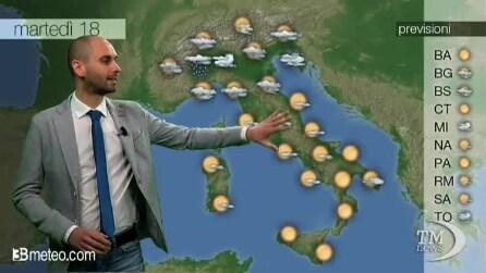 Previsioni meteo per martedì, 18 Febbraio