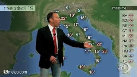 Previsioni meteo per mercoledì, 19 marzo