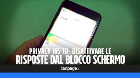 Privacy iOS 10: disattivare le risposte ai messaggi dal Blocco Schermo