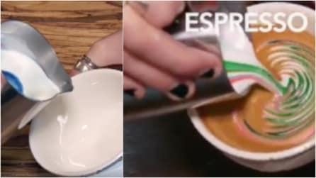 Avete mai visto un cappuccino multicolor? Ecco come realizzarlo con una semplice mossa