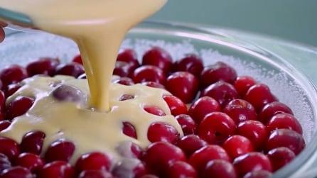 Versa la crema direttamente sulle ciliegie e crea un dolce davvero strepitoso