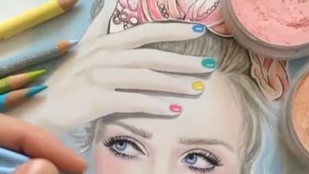 Esegue il ritratto di una ragazza con i prodotti per il make-up: il risultato vi spiazzerà