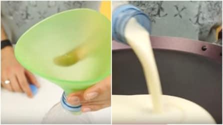 Prepara le crepes usando solo una bottiglia di plastica: non riuscirai a credere ai tuoi occhi