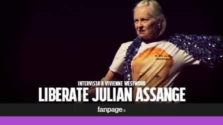 Vivienne Westwood a Milano sfila per chiedere la liberazione di Assange