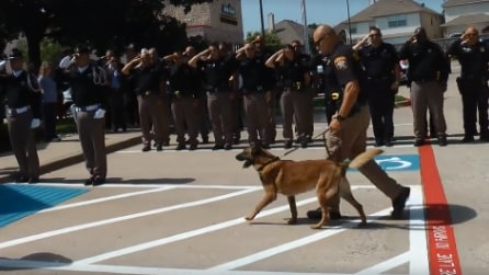 Il cane dello sceriffo non ha più speranze: l'ultimo saluto da parte degli ufficiali è commovente