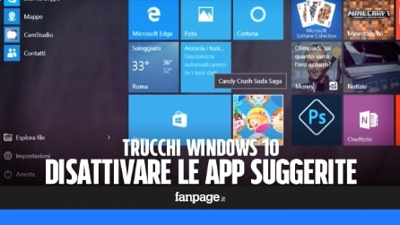Come disattivare le app suggerite nel menu Start Windows 10