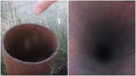 Trovano uno strano tubo nei pressi di una base militare: ciò che accade vi lascerà a bocca aperta