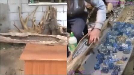 Trova un tronco secco e gli dà nuova vita: ciò che riesce a creare vi stupirà