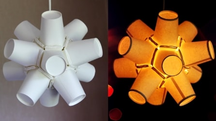 Come riciclare i bicchieri di carta e creare un'originale lampada fai da te