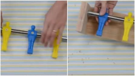 Prende l'asta di un biliardino e un pezzo di legno: l'idea perfetta per arredare la cemeretta dei bambini