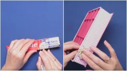 Inizia facendo dei tagli sulla confezione di dentifricio: ciò che realizza vi ispirerà