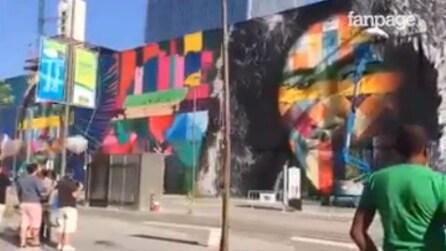 Rio, un enorme murale rappresenta lo spirito delle Olimpiadi: l'opera è spettacolare