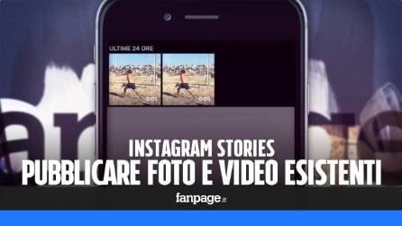 Instagram Stories: pubblicare (e modificare con i filtri) foto e video esistenti in galleria