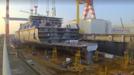 Come nasce una nave da crociera: uno spettacolare timelapse mostra le fasi della sua realizzazione