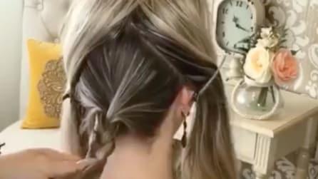 Divide i capelli in questo modo e in mezzo fa una treccia: l'acconciatura è davvero originale
