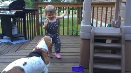 La piccola Charlotte e il suo cane Zoe ballano in cortile