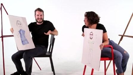 Disegnare il proprio compagno senza guardarlo, l'esperimento di coppia
