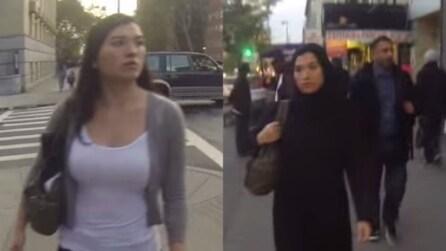 New York, la reazione degli uomini davanti a una donna che veste casual e all'altra che indossa l'Hijab